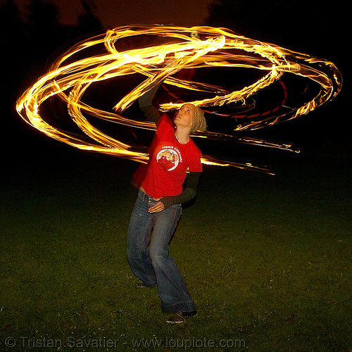 kara spinning fire hula hoop (san francisco), fire dancer, fire dancing, fire hula hoop, fire performer, fire spinning, flames, kara, long exposure, night, spinning fire