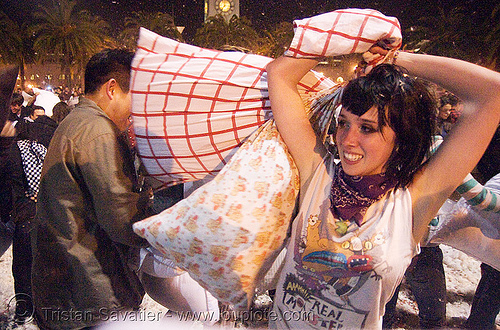 kat at the great san francisco pillow fight 2008, down feathers, kat, night, pillow fight club, pillows, world pillow fight day