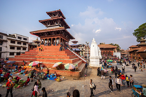 kathmandu durbar square (nepal), hindu temple, hinduism, maju deval, people, pyramid, red, street