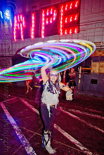 katie with glow hulahoop - ghostship halloween party on treasure island (san francisco), costume, ghostship 2009, glowing, halloween, hula hoop, led-light, long exposure, rave party, ripe, space cowboys, woman
