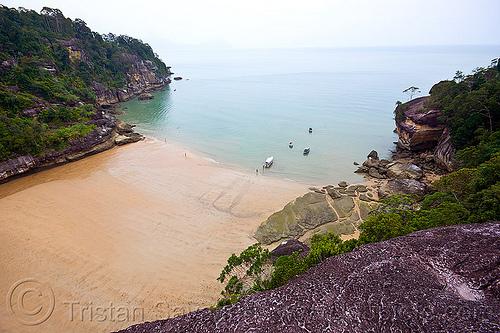 kecil beach - baku national park (borneo), kuching, ocean, sand, sea, seashore, shore, telok pandan kecil