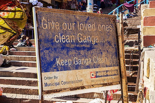 keep ganga clean - dirty sign - varanasi (india), dirt, dirty, environment, ganga, ganges river, ghats, hindu, hinduism, india, muddy, pollution, sign, varanasi