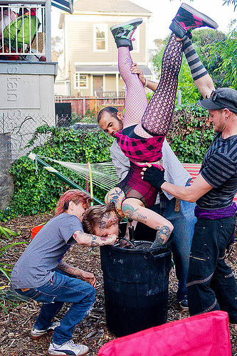 keg stand - an american beer-drinking tradition, beer keg, drinking, keg stand, leah, tattooed, tattoos, upside-down, woman