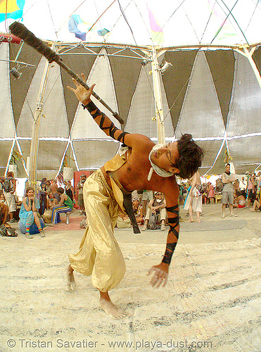 keith aka srikanta - burning man 2007, burning man, center camp, keith, spinning staff, srikant, srikanta