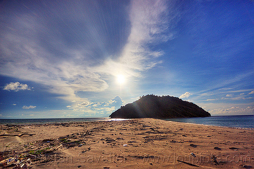 kelambu tied island and tombolo, backlight, clouds, islet, kelambu beach, kelambu island, kelambu tombolo, lens flare, ocean, peninsula, rain forest, sand, sea, seashore, shoal, shore, sun, tidal sandbar, tied island