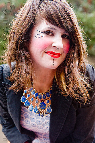 kelley - burning man decompression 2009 (san francisco), burning man decompression, kelley, makeup, red lipstick, woman
