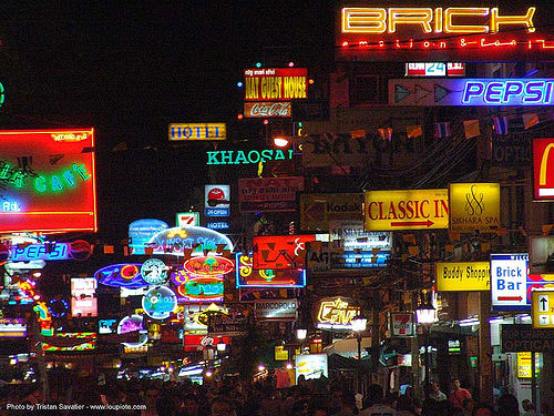 ถนนข้าวสาร - khao san road (bangkok) - thailand, city lights, night, shop signs, thanon khaosan, ถนนข้าวสาร, บางกอก, ประเทศไทย