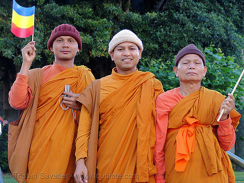khmer-krom buddhist monks in street demonstration (civic center, san francisco), bhagwa, buddhist monks, demonstration, khmer kampuchea-krom federation, khmer kampuchea-krom flag, khmer krom, khmers, kho-me, kkf, orange, protest, rally, saffron color, three