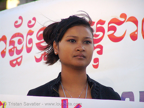 khmer-krom girl in street demonstration (civic center, san francisco), asian woman, demonstration, khmer girl, khmer kampuchea-krom federation, khmer krom, khmers, kho-me, kkf, protest, rally