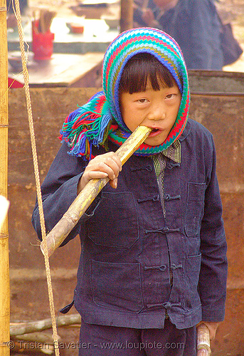 kid eating sugar cane, vietnam