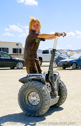 kid on segway, burning man, child, kid, segway x2
