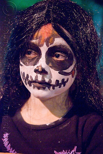 kid with skull makeup - dia de los muertos - halloween (san francisco), child, day of the dead, face painting, facepaint, night, people, sugar skull makeup