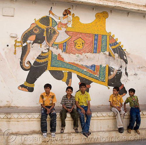 kids and elephant painting - palace - udaipur (india), child, elephant riding, kids, painting, palace, street, udaipur, wall