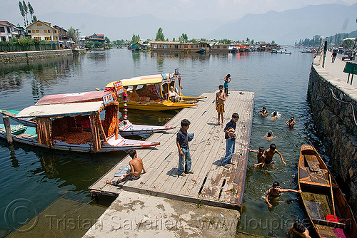 kids bathing in lake - srinagar - kashmir, bath, bathing, children, india, kashmir, kid, lake, mooring, pier, small boats, srinagar, swimming, taxi-boats, wading, سِرېنَگَر, شرینگر, श्रीनगर