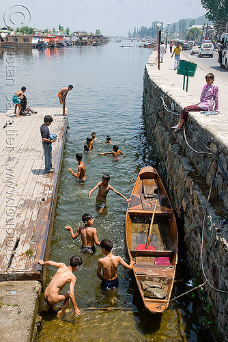 kids bathing in lake - srinagar - kashmir, bath, bathing, children, india, kashmir, kid, lake, pier, river boat, rowing boat, small boat, srinagar, swimming, wading, سِرېنَگَر, شرینگر, श्रीनगर
