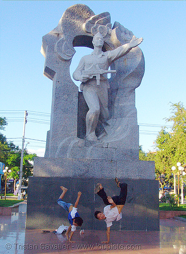 kids break-dancing in front of communist monument - nha trang - vietnam, boys, break dance, break dancing, children, communism, kids, memorial, monument, nha trang, victory, vietnam