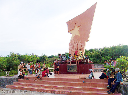 kids break-dancing in front of communist monument - phan thiet - vietnam, boys, break dance, break dancing, children, communism, communist, kids, memorial, monument, phan thiet, victory