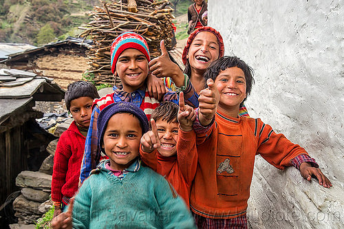 kids fooling around in village in indian himalayas, boys, children, girl, janki chatti, knit cap, people