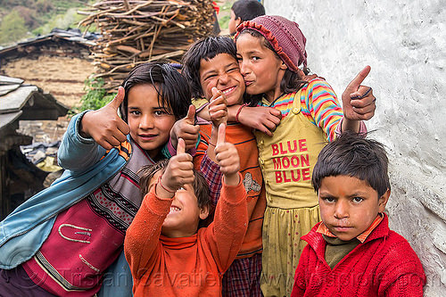 kids in himalayan village (india), blue moon blue, boys, children, girls, janki chatti, kids, knit cap, people, village