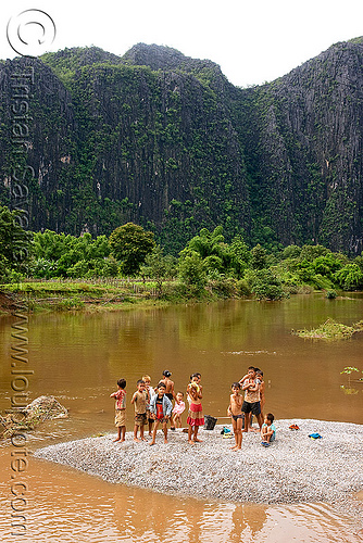 kids on river beach (laos), beach, boys, children, kids, kong lor, laos, river bathing