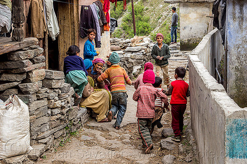 kids playing in himalayan village street (india), children, janki chatti, kids, people, playing, street, village, women
