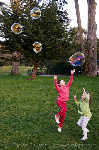 kids playing with soap bubbles, children, golden gate park, kids, soap bubbles