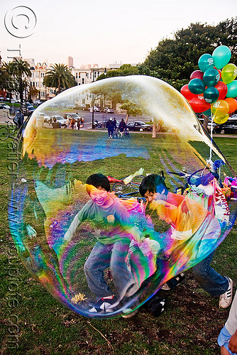 kids trapped in giant soap bubble, balloons, big bubble, children, giant bubble, iridescent, kids, lawn, park, playing, soap bubbles