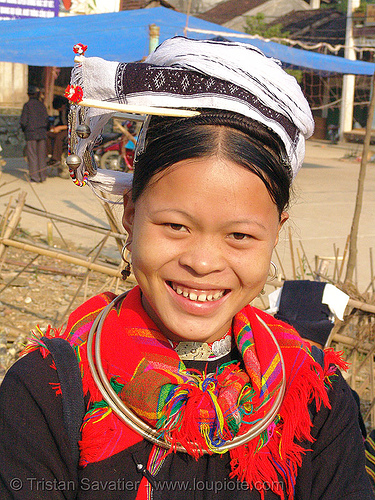 """kim mun lantien sha"" dao/yao tribe woman wearing celestial crown headdress - vietnam, asian woman, dao tribe, dzao tribe, headwear, hill tribes, indigenous, zao tribe"