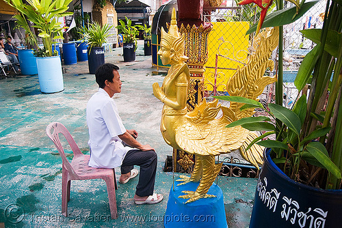 กินนร - kinnorn - mythical half-man half-bird creature (thailand), bangkok, bird-man, chicken, kinnorn, sculpture, sitting, statue, thailand, wat, กินนร, บางกอก