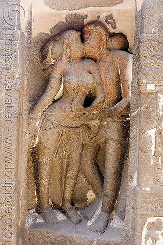 kissing lovers sculpture - kailash monolithic hindu temple - ellora caves (india), ellora caves, erotic sculpture, french kiss, hindu temple, hinduism, india, kailash temple, kissing, maithuna, making out, monolithic, rock-cut, कैलास मन्दिर