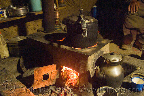 kitchen stove in farmer's house - ladakh (india), india, kitchen, ladakh, spangmik, wood stove