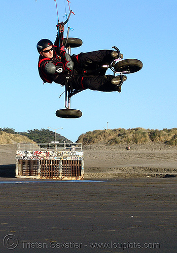 kite buggy air lifting on beach, kiteboarder, kiteboarding, kitebuggy, kiting, ocean beach, trike