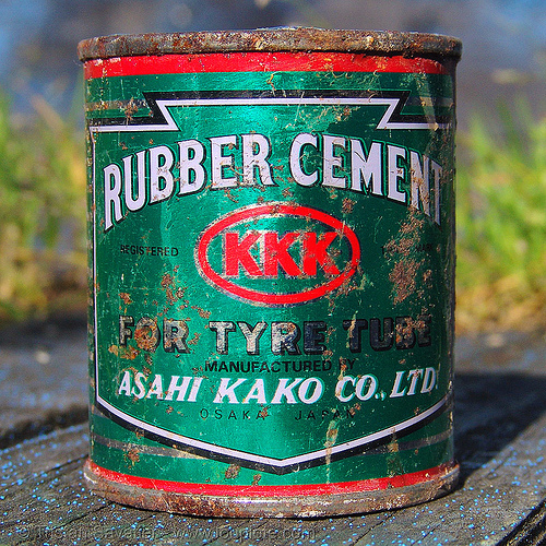 KKK rubber cement - very flamable?, asahi, asahi kako, box, can, cultural, glue, green, metal, red, rusty
