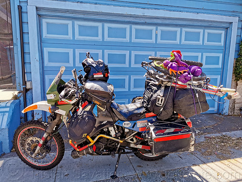 KLR 650 - burning man 2019, burning man, klr 650, loaded, luggage, motorcycle, overloaded, packed, panniers