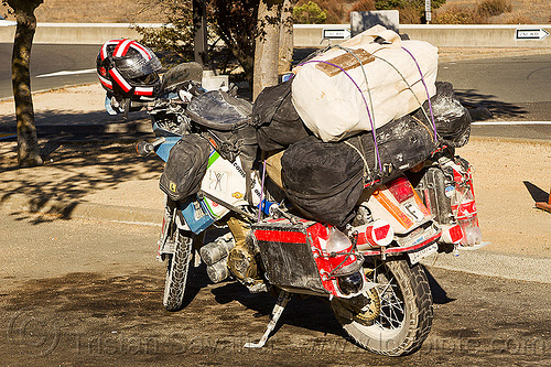 KLR 650 motorbike with heavy load, cargo, dual-sport, duffle bags, freight, kawasaki, klr 650, luggage rack, motorcycle touring, pannier cases, panniers, tank bags, tool tubes