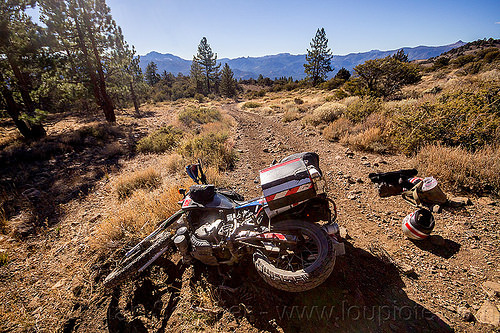 KLR 650 motorcycle crash on trail, accident, california, crash, dirt road, dropped, dual-sport, eastern sierra, helmet, kawasaki, klr 650, luggage, lying down, mishap, motorcycle touring, panniers, rack, tank bags