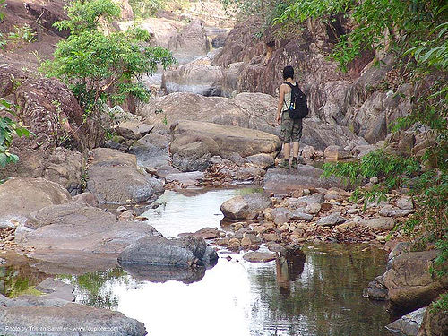 ko chang island - creek upstream from the waterfall - thailand, boulders, creek, hiking, ko chang, river, rocks, stream, thailand, woman