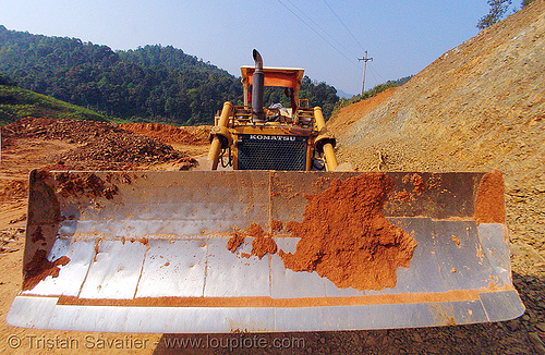 komatsu D50P bulldozer - blade - vietnam, at work, blade, cao bang, cao bằng, dozer, earth, fisheye, groundwork, heavy equipment, hydraulic, komatsu bulldozer, komatsu d50p, machinery, plow, road construction, roadworks, working