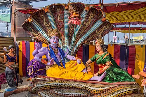 krishna - hindu god sculpture with five headed naga snake, ananta sesha, ashram, brahma, deities, gods, hare krishna, hindu, hinduism, iskcon, kitch, kumbha mela, laxmi devi, laxmi-narayana, maha kumbh mela, naga snake, purple, religion, sculptures, statues, vishnu
