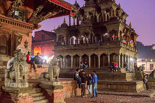 krishna mandir - patan durbar square (nepal), hindu temple, hinduism, night, people