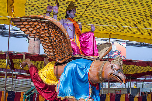 krishna riding garuda bird god - hindu deity sculptures, ashram, bird, deities, flying, garuda, gods, hare krishna, hindu, hinduism, iskcon, kitch, kumbha mela, maha kumbh mela, religion, sculptures, statues, vishnu