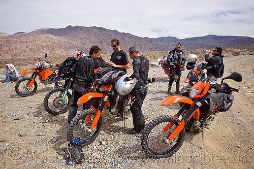 KTM motorcycles in death valley, adv rider, adventure rider, death valley, dual-sport, ktm, motorbike touring, motorcycle touring, noobs rally, saline valley