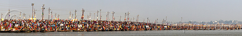kumbh mela festival (india) - millions of hindu pilgrims gathering at sangam for the holy bath in the ganges river, crowd, ganga river, ganges river, hindu, hinduism, holy bath, holy dip, kumbha mela, maha kumbh mela, panorama, paush purnima, pilgrims, river bank, river bath, river bathing, stitched, triveni sangam, water, yatris