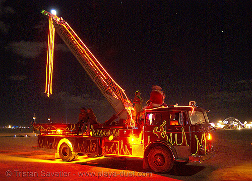 ladder firetruck - burning man 2007, art car, burning man, fire engine, fire truck ladder, glowing, ladder fire truck, ladder truck, mutant vehicles, night