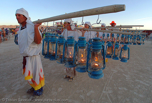 lamplighters - burning-man 2005, art, burning man, lamplighters, march, petrol lanterns, poles, procession