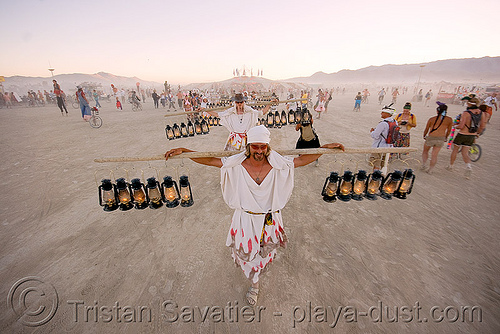 the lamplighters - burning man 2008, burning man, center camp, lamplighters, march, petrol lanterns, poles, procession