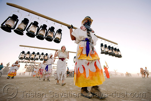 the lamplighters - burning man 2008, burning man, lamplighters, march, petrol lanterns, poles, procession