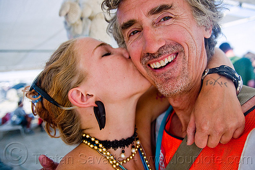 lana kissing me - selfportrait - burning man 2009, burning man, kiss, kissing, lana, self portrait, selfie, tattooed, tattoos, toxic, tristan savatier, woman
