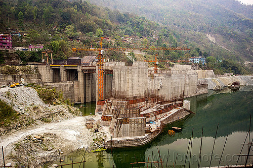 lanco hydro power project - dam construction on teesta river - sikkim (india), concrete, construction, crane, dam, formwork, hydro-electric, industrial, infrastructure, sikkim, teesta river, tista, valley