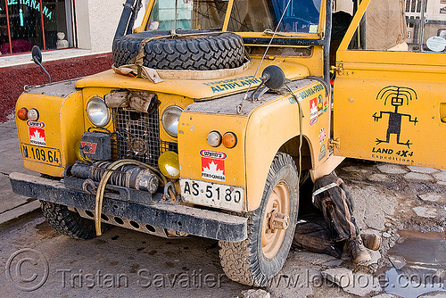 land rover series II, 4wd, 4x4, all-terrain, bolivia, car, expedition, front, land rover series ii, man, mechanic, pto winch, under, uyuni, yellow